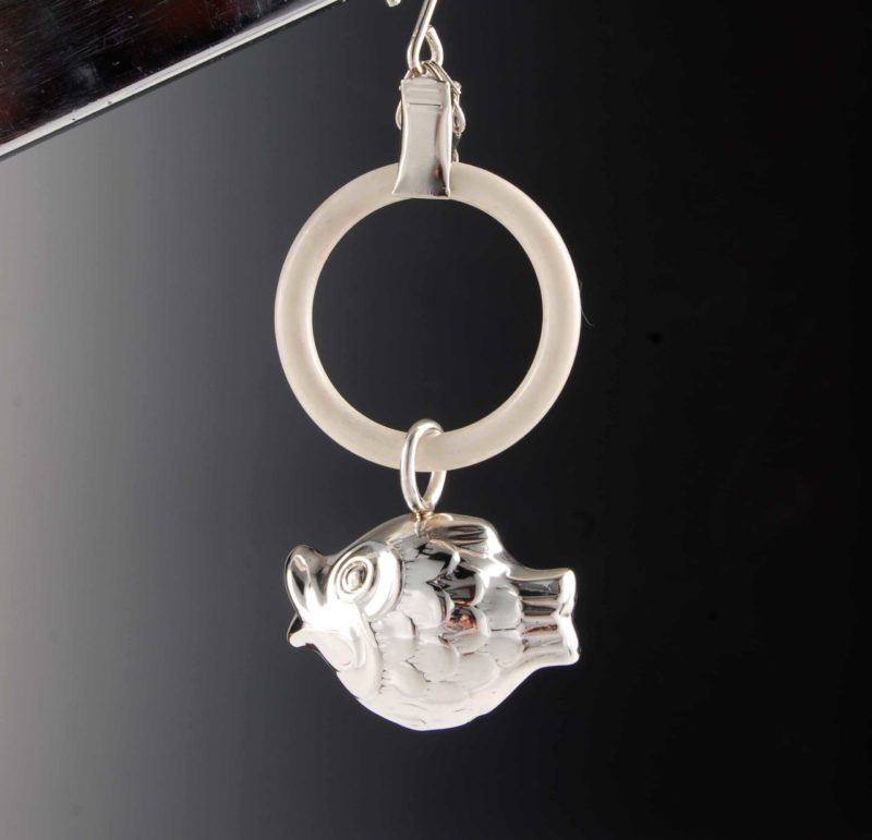 """Rattle made of 925 silver for babies and children - motif fish """"14452.5"""