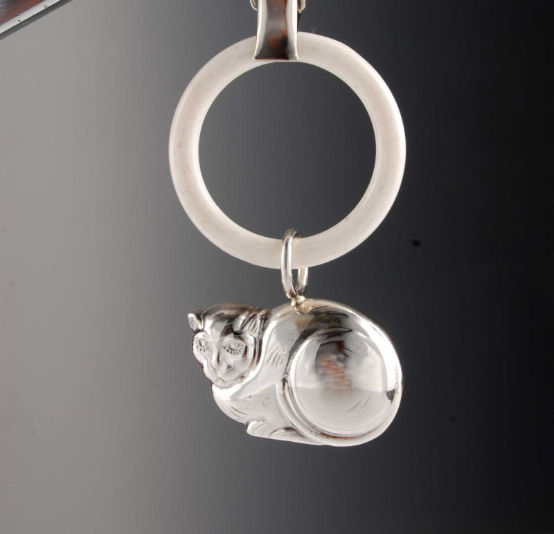"""Rattle made of 925 silver for babies and children - motif cat """"14452.0"""
