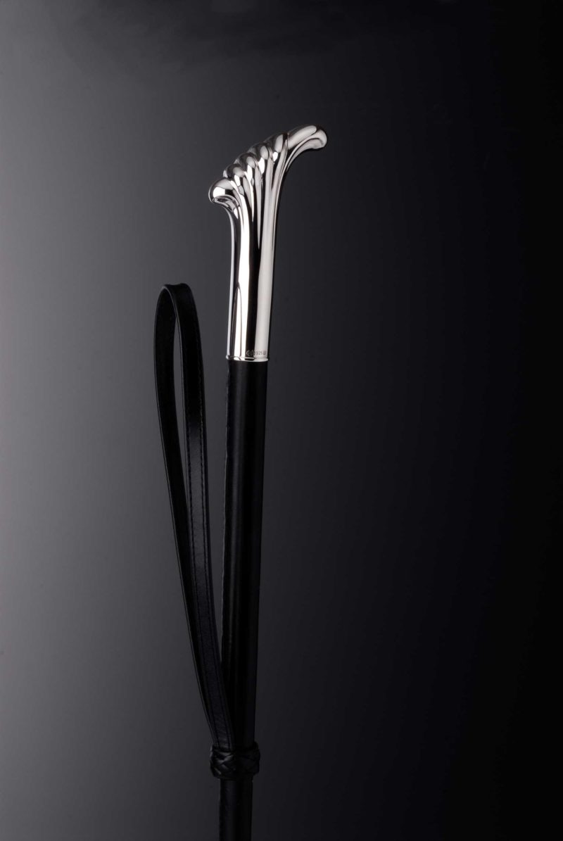 """Riding crop """"220"""" decorated with silver handle   Möhrle Silber Germany"""