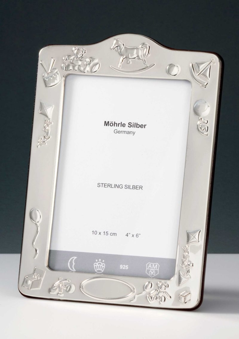 """Picture frame silver 925 """"241"""" baptism and birth   Möhrle Silber Germany"""