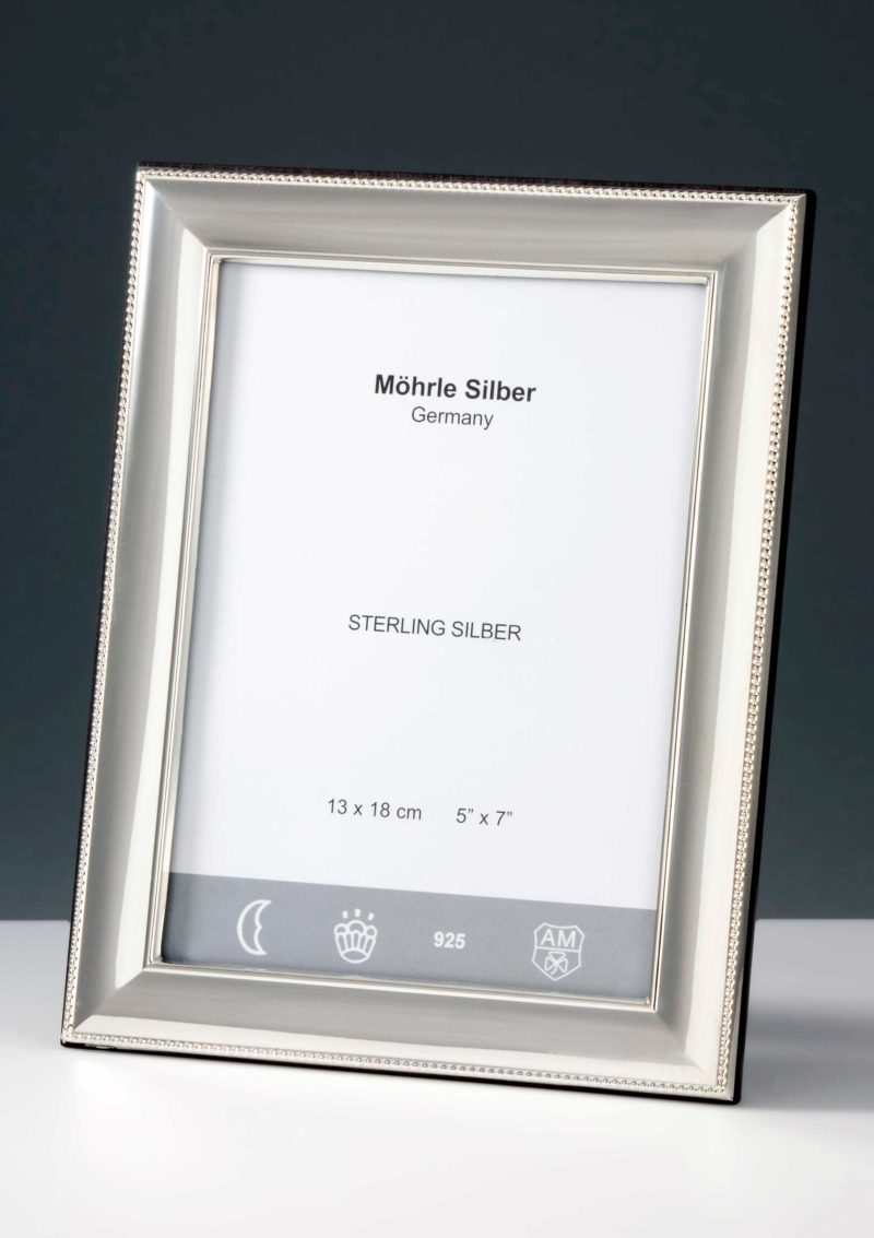 """Picture Frame Silver 925 """"244"""" Pearl Edge   Möhrle Silber Germany"""