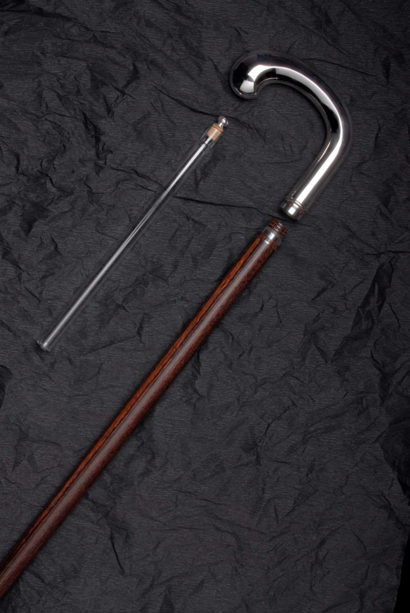 Drinking stick brown with glass tube and handle made of 925 silver | Möhrle Silber