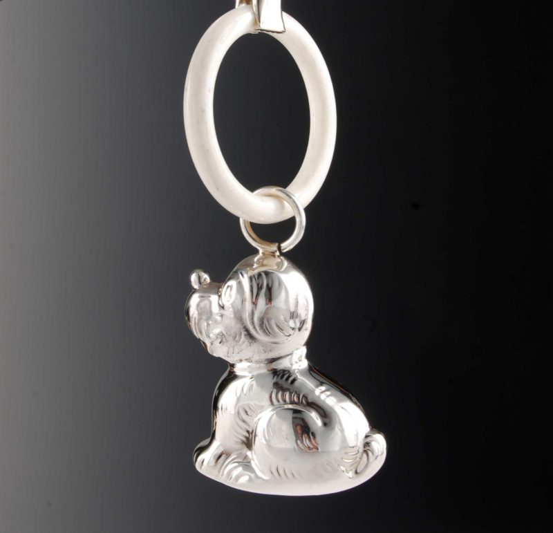 """Rattle made of 925 silver for babies and children - motif dog """"14452.9"""