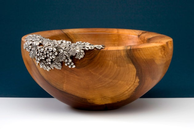 """Apple wood bowl with 925 silver decoration """"14503"""" 