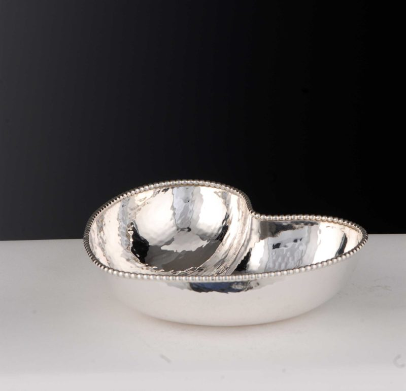 """Bowl """"14490.1"""" Heart Shape Hammered 925 Sterling Silver Solid"""