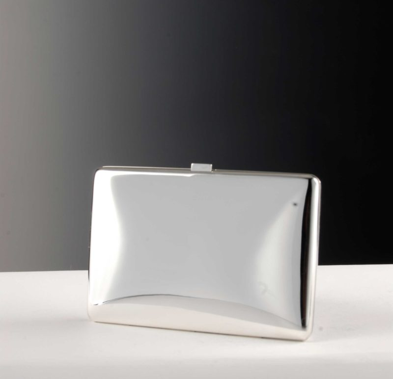 925 silver cigarette and business card case with spring hinge
